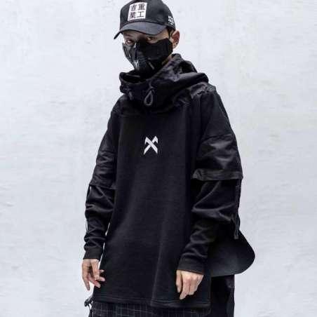 Jaqueta de Moletom Dark Techwear Masculina Cargo com Capuz Plus Size