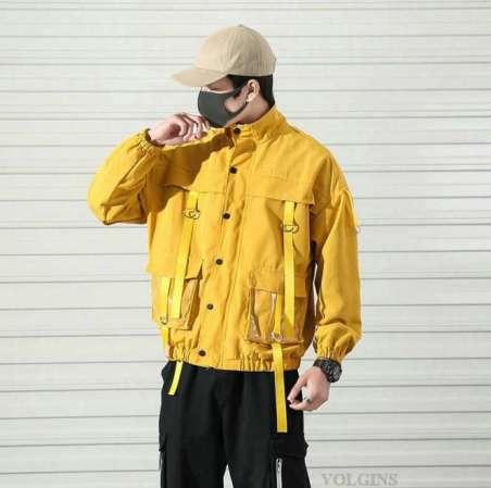 Moletom Chão de Fábrica Capa de Chuva Amarela com Bolsos Cargo