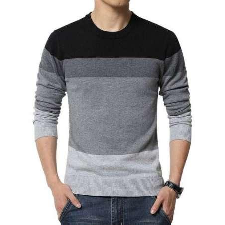 Camisa Suéter Blusão de Malha Masculino Listrado Manga Longa em Lã