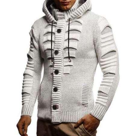 Suéter Masculino Moletom Tricotado Estilo Destroyed com Botões