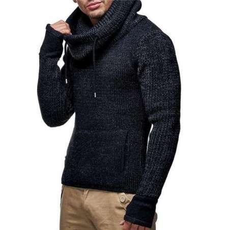Suéter de moletom grosso com Luvas nas Mangas e Gola Olimpica de Tricô