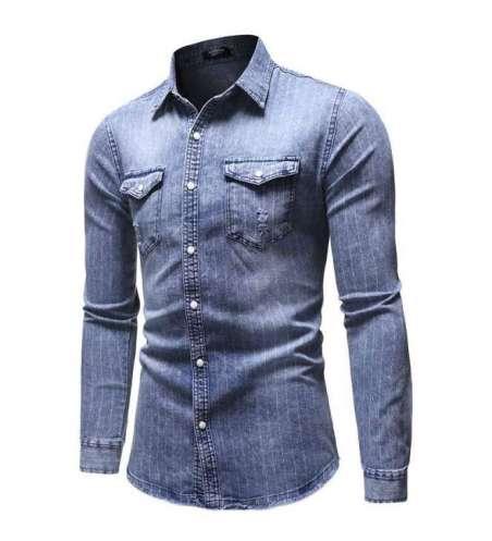 Camisa Jeans Fino Claro Masculina Slim Charmosa Manga Longa