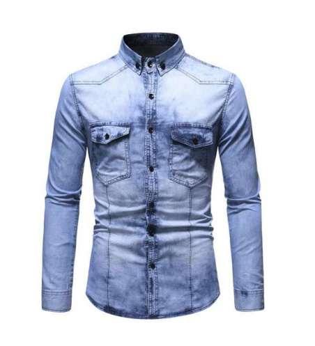 Camisa Jeans Lavado Slim Masculina com Tom de Despotado