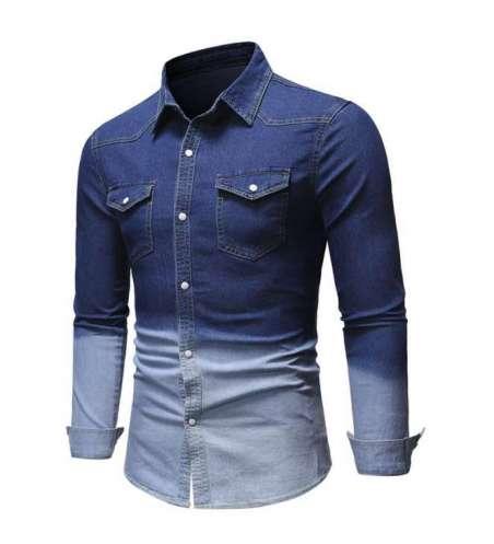 Camisa Jeans fino Masculina Degrade Manga Longa