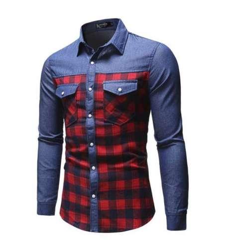 Camisa Jeans Slim Masculina Xadrez Flanelado Vermelha