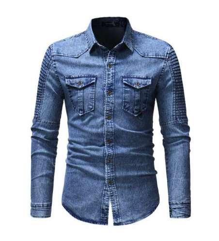 Camisa Jeans Casual Social Masculima Slim Tom Azul Claro