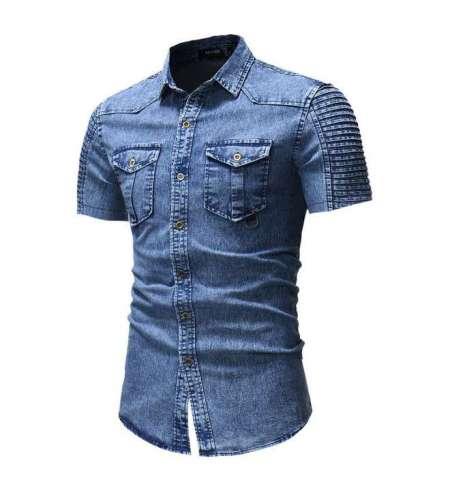 Camisa Jeans Masculina Manga Curta Slim Colete