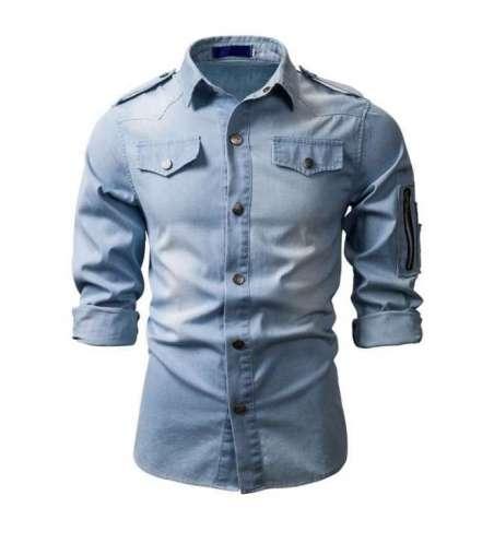 Camisa Jeans Lavado Masculina Manga Longa com Bolsos