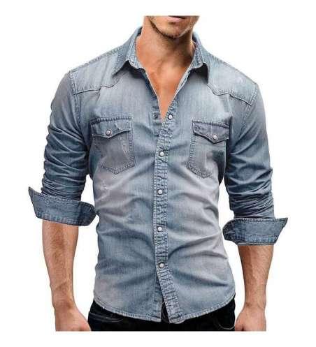 Camisa Jeans Masculina Manga Longa Dobraveis ao Cutuvelo