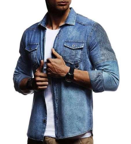 Camisa Estilo Jaqueta Jeans Masculina Casual com Bolso Frontal
