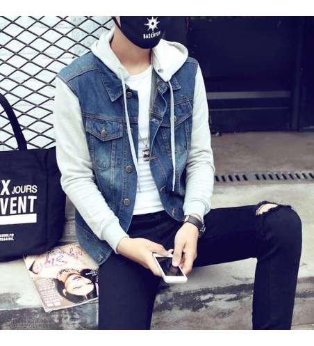 Jaqueta Jeans com Mangas de Moletom e Capuz Masculina