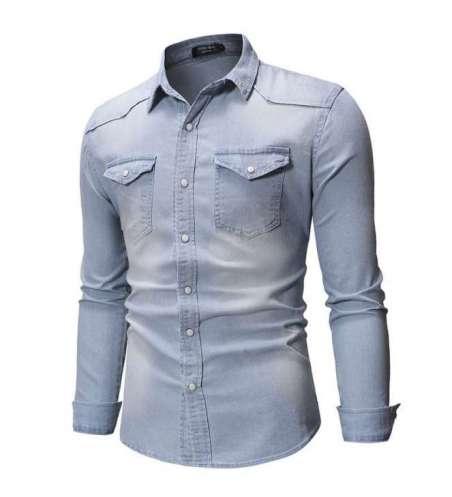 Camisa Jeans Premium Slim Masculina Social Tom Lavado Claro