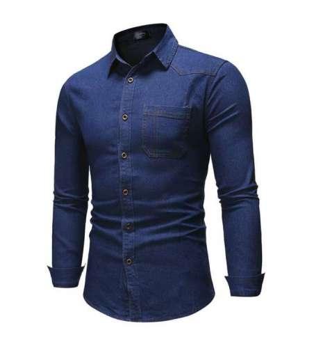 Camisa Jeans Azul Masculina Slim Social Elegante Neutra