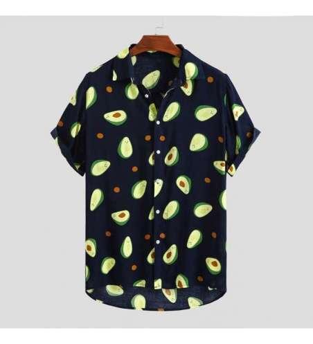 Camisa Estampada Abacate Moda Praia Havaiana de Verão Manga Curta