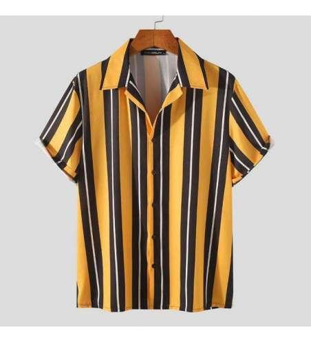 Camisa Listrada Amarela de Botão Manga Curta Moda Praia