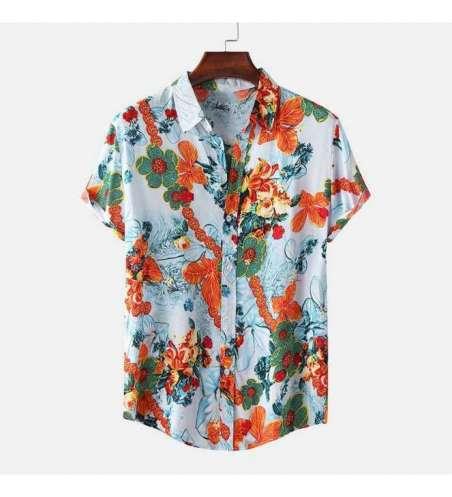 Camisa Estampada Floral Manga Curta Moda Praia Masculina Slim