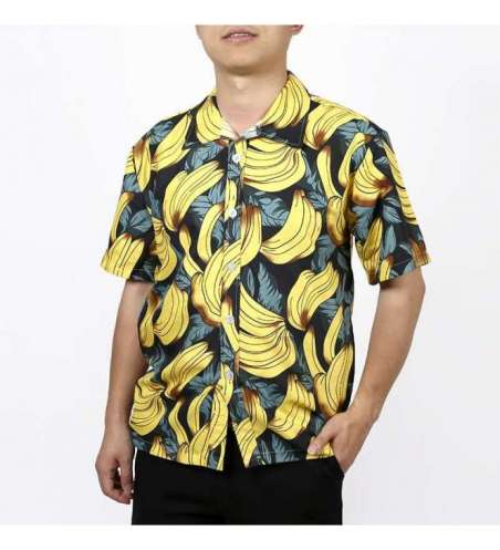 Camisa Estampada Floral Frutas e Bananas Manga Curta Moda Praia