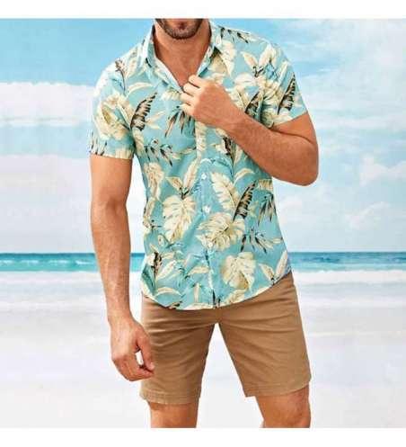 Camisa de Botão Manga Curta Floral Moda Praia Cores Claras