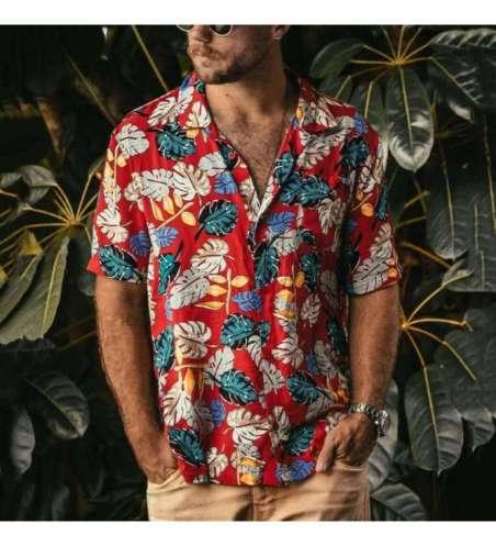 Camisa Slim Estampa Floral de Botão Manga Curta Masculina Moda Praia