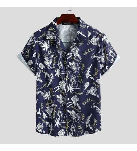 Camisa Florida Masculina de Botão Manga Curta Moda Praia