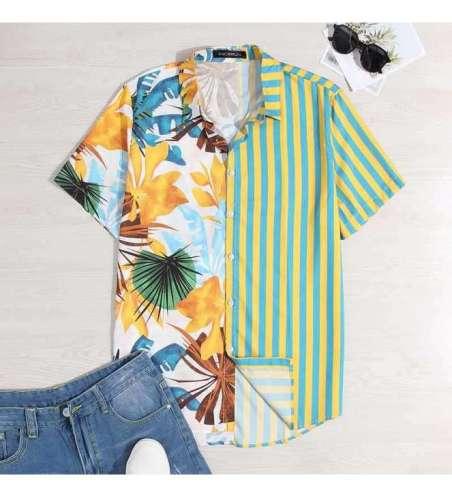 Camisa Floral Estampada de Botão Manga Curta moda Havaina