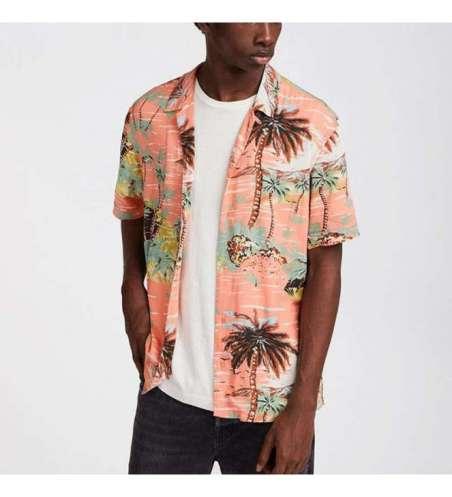 Camisa Floral de Férias Praia Estampada Manga Curta de Botão