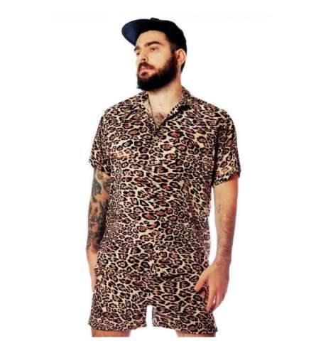 Conjunto de Praia Masculino Estampa Onça Pintada Leopardo