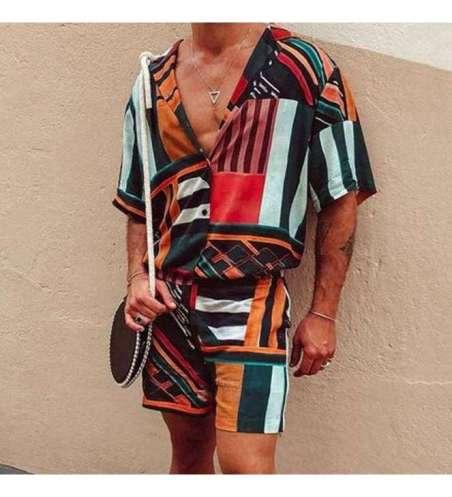 Conjunto de Praia Masculino Estampa Afro Brasileira Kit