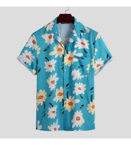 Camisa Floral Masculina Estampa Flores Magnolia de Botão Manga Curta
