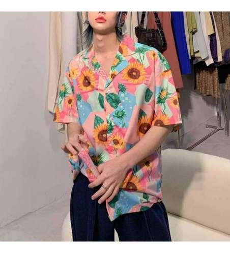 Camisa Floral Unisex Casual Slim Fit  Moda Praia Colorida