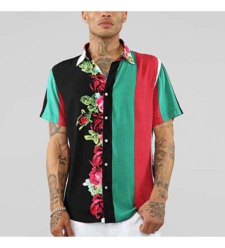 Camisa de Botão Manga Curta Floral Casual Listrada