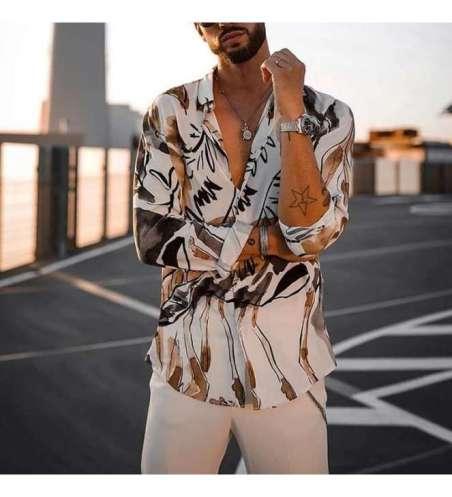 Camisa Social Floral Slim Fit Branca Manga Longa Masculina