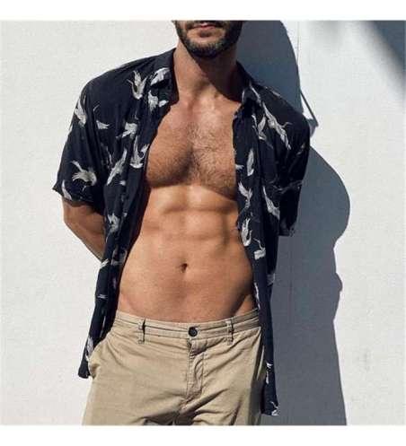Camisa Social Floral Preta Slim Estampada Penas de Passaro