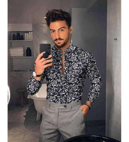 Camisa Social Floral Slim Fit Elegante Masculina Gola Profunda