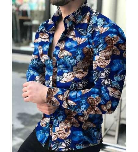 Camisa Floral Masculina Social Colada Mercado Slim Fit