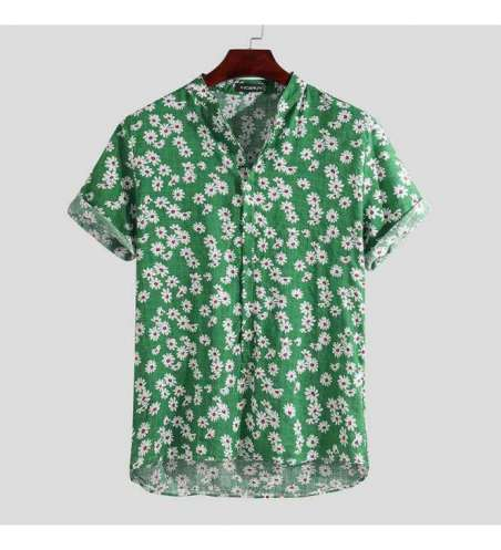 Camisa Preta Social Florida Masculina Slim Fit Manga Curta