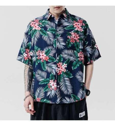 Camisa Floral Masculina Praia Havaiana Plus Size