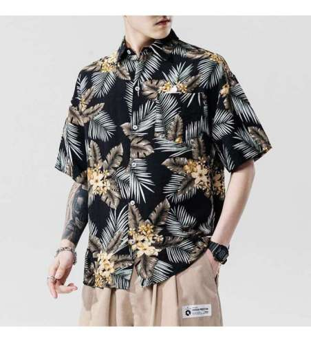 Camisa Havaiana Floral Preta Masculina Viscose Moda Praia