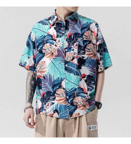 Camisa Viscose Estampada Floral Masculina de Praia
