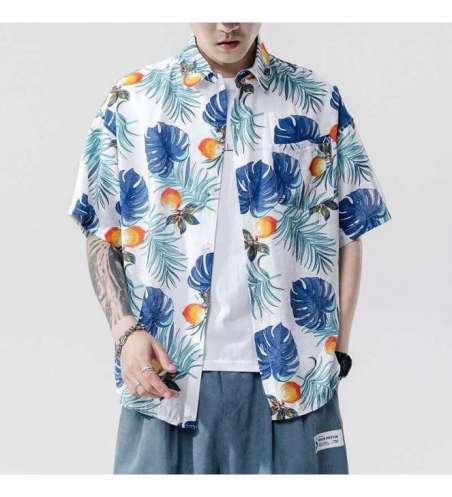 Camisa Estampada Floral Masculina Manga Curta Moda Praia