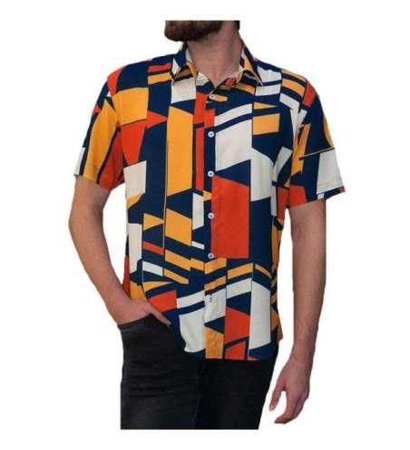 Camisa Casual Slim Fit Estampada Estilosa Masculina