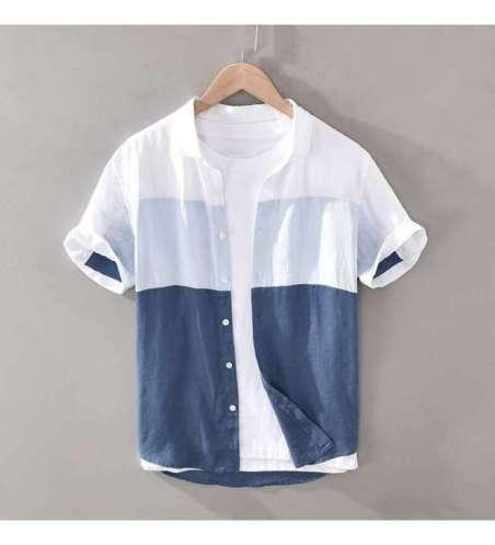 Camisa Casual Masculina Slim Algodão Listras Grossas