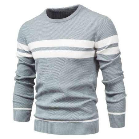 Suéter de Moletom Listrado Manga Longa Casual Confortável