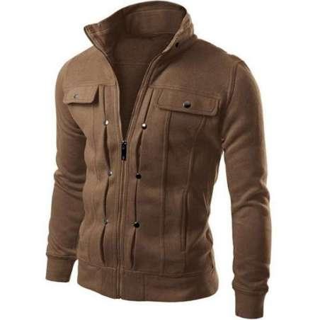 Jaqueta de Moletom Masculina de Ziper Gola Polo Neutra