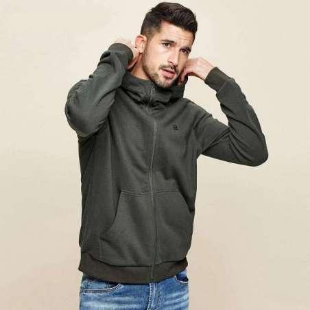 Moletom Masculino Streetwear Casual Estilo Básico de Capuz de Ziper